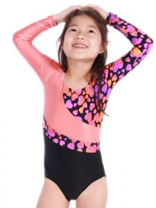 VEVA by Very Vary Big Girls Pink Black Logos Gymnastics Leotard 4-12