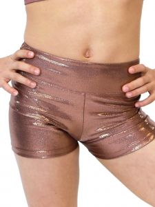 VEVA by Very Vary Womens Golden Brown Kosmo Mystique Gymnastics Shorts XS-L