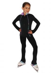 Ice Fire Skating Big Girls Black Venetta Fit Polartec Jacket Pants Top Set 6-12