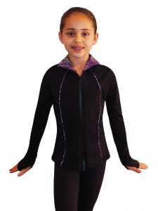 Ice Fire Skating Big Girls Black Purple Waves Jacket Pants Top Set 6-14