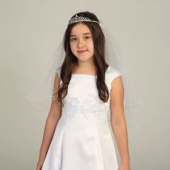 Angels Garment Girls White Rhinestone Cross Communion Flower Girl Tiara Veil