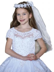 Angels Garment Girls White Crystal Floral Communion Flower Girl Tiara Veil