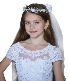 Angels Garment Girls White Rhinestone Flower Communion Flower Girl Tiara Veil