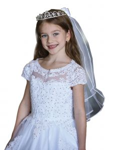 Angels Garment Girls White Crystal Cross Communion Flower Girl Tiara Veil