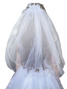 Angels Garment Girls White Crystal Pearl Floral Communion Flower Girl Tiara Veil