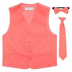Big Boys Coral Vest Bow-tie Tie Special Occasion 3 Pcs Set 8-14