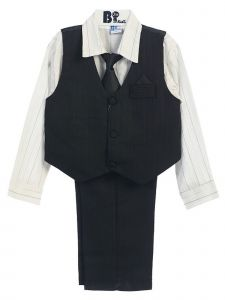 Little Boys Black White Striped Shirt Vest Pants Neck Tie Hanky 5 Pcs Suit 3-4T