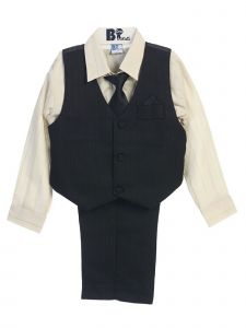 Little Boys Black Ivory Striped Shirt Vest Pants Neck Tie Hanky 5 Pcs Suit 3-4T
