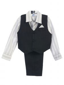 Little Boys Black Grey Striped Shirt Vest Pants Neck Tie Hanky 5 Pcs Suit 3-4T