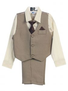 Little Boys Khaki Brown Striped Shirt Vest Pants Neck Tie Hanky 5 Pcs Suit 3-4T