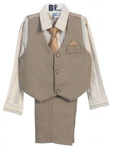 Little Boys Khaki Gold Striped Shirt Vest Pants Neck Tie Hanky 5 Pcs Suit 3-4T