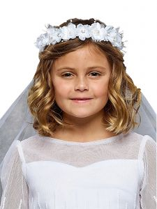 "Kids Dream Girls White Gem Pearl Floral Comb 21"" Communion Flower Girl Veil"