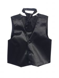 Tip Top Kids Big Boys Black Three Button Satin Vest Tie 2 Pc Set 8-16