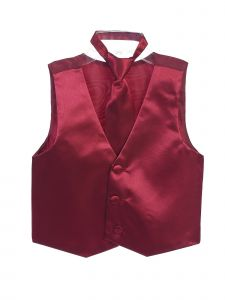 Tip Top Kids Big Boys Burgundy Three Button Satin Vest Tie 2 Pc Set 8-16