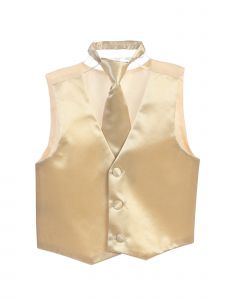 Tip Top Kids Little Boys Champagne Three Button Satin Vest Tie 2 Pc Set 2-6
