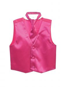 Tip Top Kids Big Boys Fuchsia Three Button Satin Vest Tie 2 Pc Set 8-16