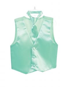 Tip Top Kids Little Boys Mint Three Button Satin Vest Tie 2 Pc Set 2-6