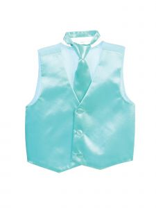 Tip Top Kids Little Boys Aqua Three Button Satin Vest Tie 2 Pc Set 2-6