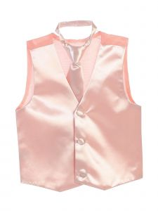 Tip Top Kids Big Boys Blush Three Button Satin Vest Tie 2 Pc Set 8-16