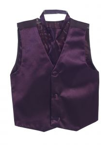 Tip Top Kids Big Boys Eggplant Three Button Satin Vest Tie 2 Pc Set 8-16