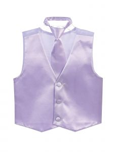 Tip Top Kids Big Boys Lilac Three Button Satin Vest Tie 2 Pc Set 8-16