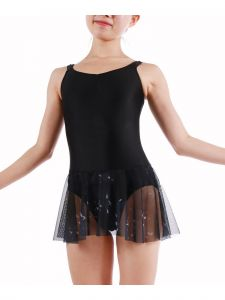Veva By Very Vary Big Girls Black Bird Dance Tank Leotard 8-12