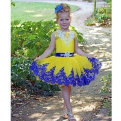 Triumph Dress Girls Yellow Royal Blue Lace Vlada Flower Girl Dress 4-8