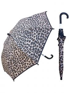 "Rainstoppers Girls Tan Leopard Print 32"" Arc Manual Open Safety Tested Umbrella"