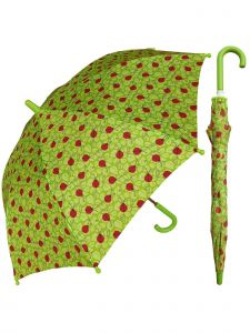 "Rainstoppers Girls Green Lady Bug Print 32"" Arc Manual Open Umbrella"