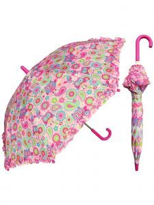 "Rainstoppers Girls Pink Owl Print 32"" Arc Manual Open Safety Tested Umbrella"