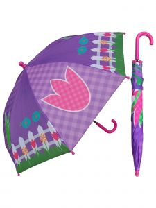 """Rainstoppers Girls Purple Garden 32"""" Arc Manual Open Safety Tested Umbrella"""