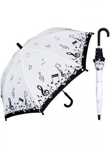 "Rainstoppers Girls Black Music Notes 32"" Arc Manual Open Safety Tested Umbrella"
