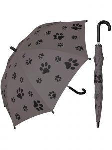 "Rainstoppers Unisex Kids Gray Puppy Paw Print 32"" Arc Manual Open Umbrella"