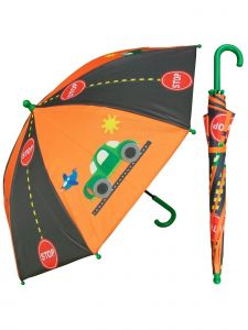 "Rainstoppers Boys Orange Traffic Print 32"" Arc Manual Open Umbrella"