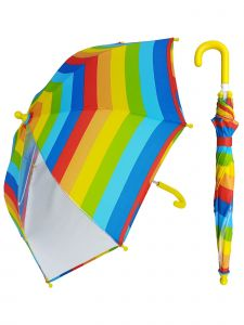 "Rainstoppers Unisex Kids Multi Stripe Print Clear Panel 32"" Manual Open Umbrella"