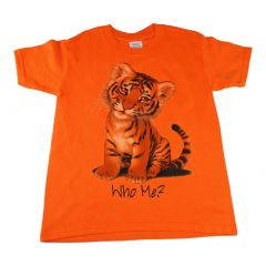 Big Kids Unisex Orange Tiger Who Me Print Short Sleeve T-Shirt 6-16