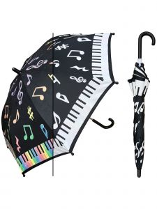"Rainstoppers Unisex Kids Multi Piano Print Clear Panel 32"" Manual Open Umbrella"