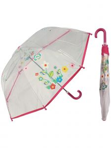 "Rainstoppers Girls Pink Flower Print 36"" Arc Manual Open Safety Tested Umbrella"