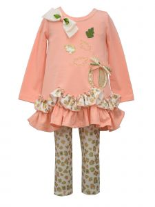 Bonnie Jean Little Girls Peach Scalloped Hem Harvest Top Legging Outfit 2T-6X