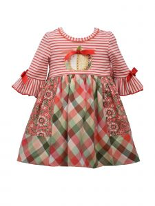 Bonnie Jean Baby Girls Coral Striped Mixed Print Skirt Pumpkin Dress 3-24M