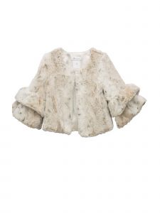 Bonnie Jean Little Girls Ivory Double Bell Sleeve Faux Fur Jacket 2T-6X