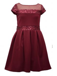 Bonnie Jean Big Girls Burgundy Sequin Illusion Neckline Christmas Dress 7-16