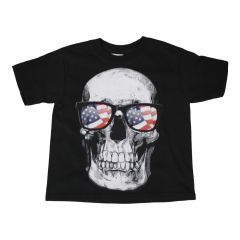 Boys Black Red Blue American Flag Skull Print Short Sleeve T-Shirt 6-16