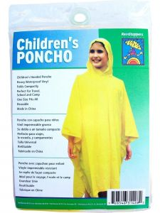 "Rainstoppers Unisex Kids Yellow Solid PVC46"" x 67"" Hooded Poncho One Size"