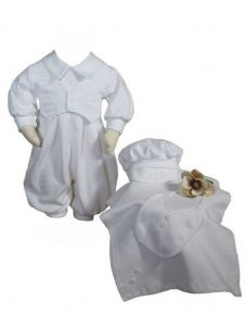 Baby Boys White 4 Pcs Cotton Long Sleeve Romper Hat Blanket Bib Set Preemie 0-3M