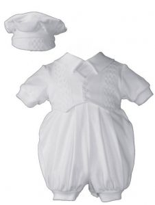 Baby Boys White Cotton Short Sleeves Hat Christening Coverall NB-12M