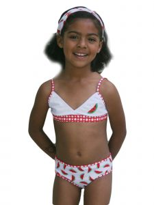Azul Big Girls Red Watermelons Bandeau Bikini 2 Pc Swimsuit 7-8