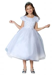 Girls Multi Color Floral Pearl Cap Sleeves Junior Bridesmaid Easter Dress 2-12