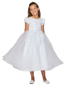 Big Girls White Lace Cap Sleeves Lace Satin Sash Communion Dress 8