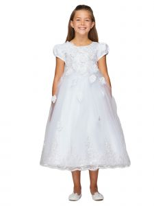Big Girls White Lace Cap Sleeves Lace Scalloped Trim Communion Dress 6-16